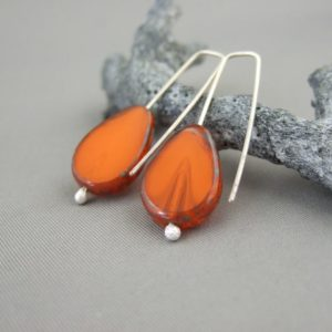 Orange Pear Czech Glass and Sterling Silver Earrings