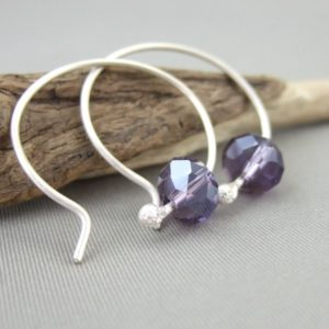 Violet Czech Glass and Sterling Silver Round Hoop Earrings
