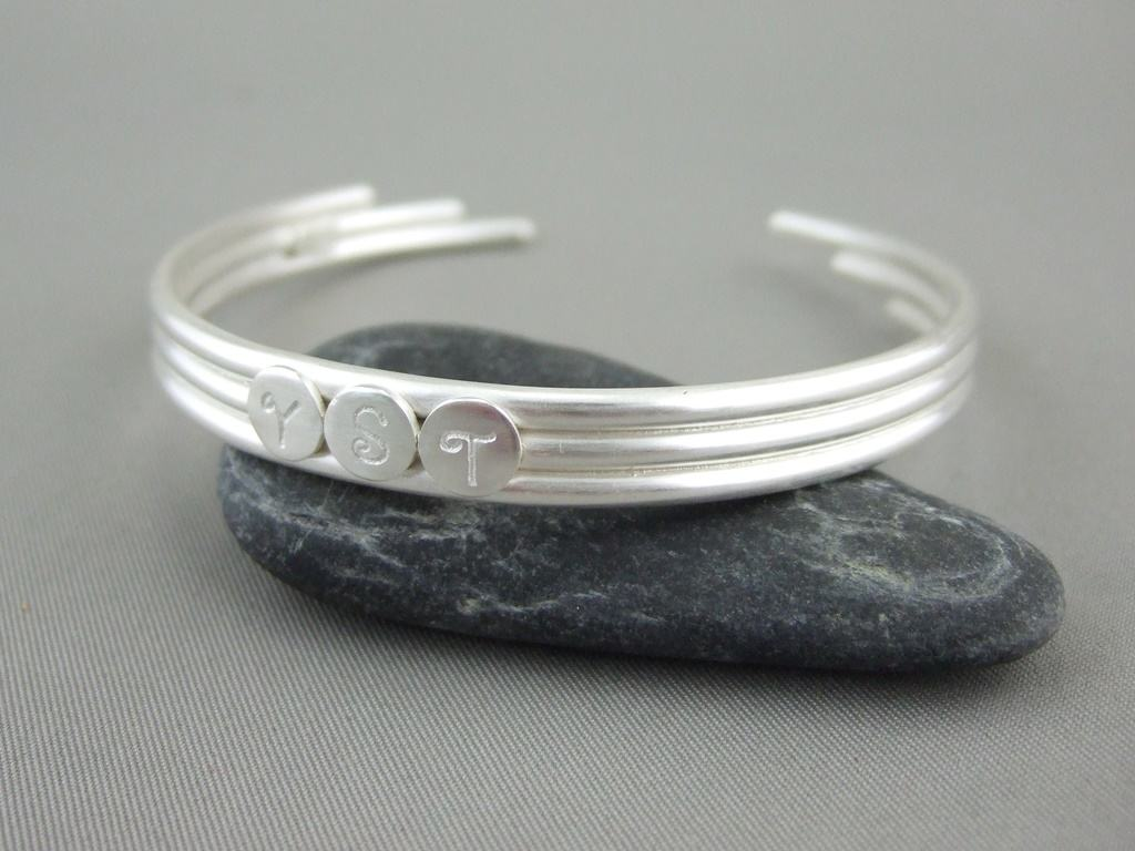 Sterling Silver Initials Bangle