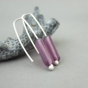 Purple Czech Glass Tube and Sterling Silver Earrings