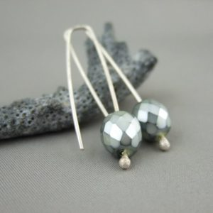 Silvery Sage Faceted Czech Glass and Sterling Silver Earrings
