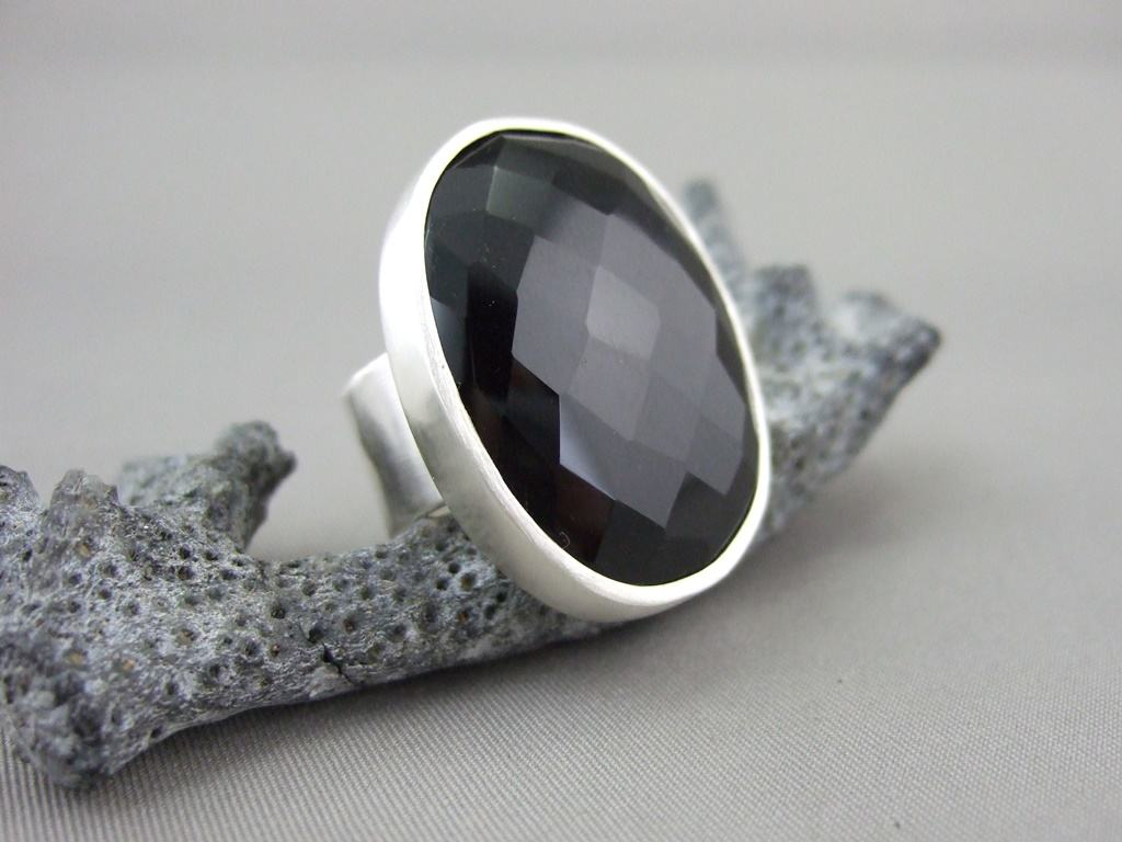 Black Faceted Onyx and Sterling Silver Ring