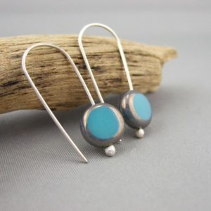 Aqua Coin Picasso Czech Glass and Sterling Silver Earrings