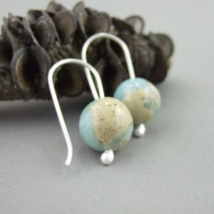 Snakeskin Jasper and Sterling Silver Earrings