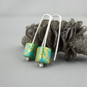 Turquoise and Gold Czech Glas and Sterling Silver Rectangle Cube Earrings