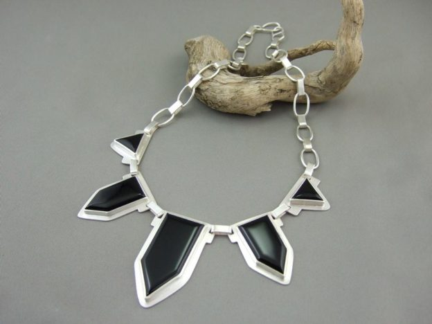 Black Onyx and Sterling Silver Statement Necklace