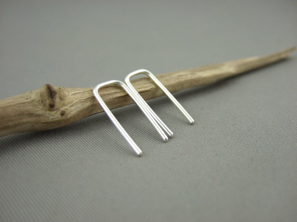 Sterling Silver Staple Earrings