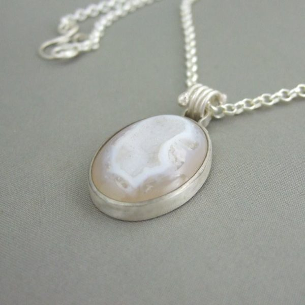 Cream Drusy Agate and Sterling Silver Pendant