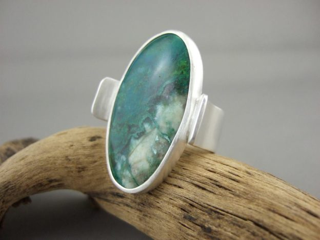 Parrot Wing Chrysocolla and Sterling Silver Ring