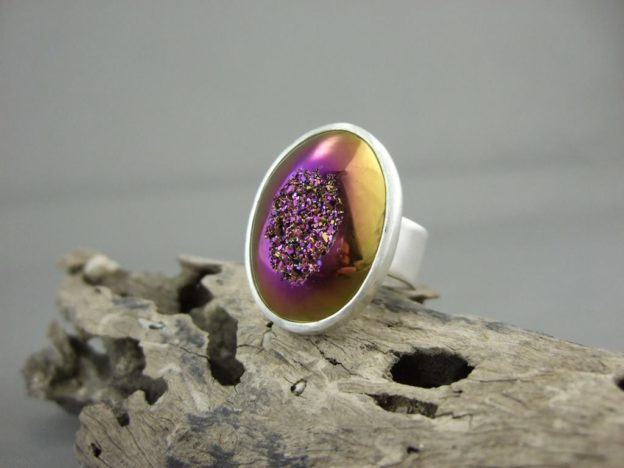 Petrol Pink Titanium Coated Drusy Ring
