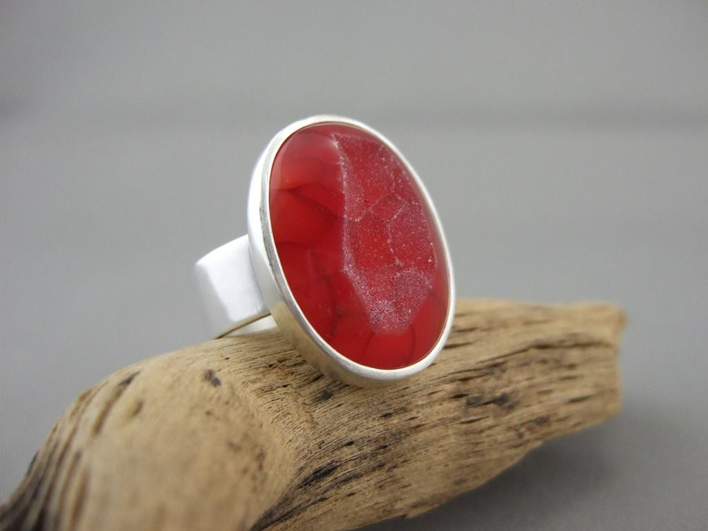 Pomegranate Red Drusy Agate and Sterling Silver Ring