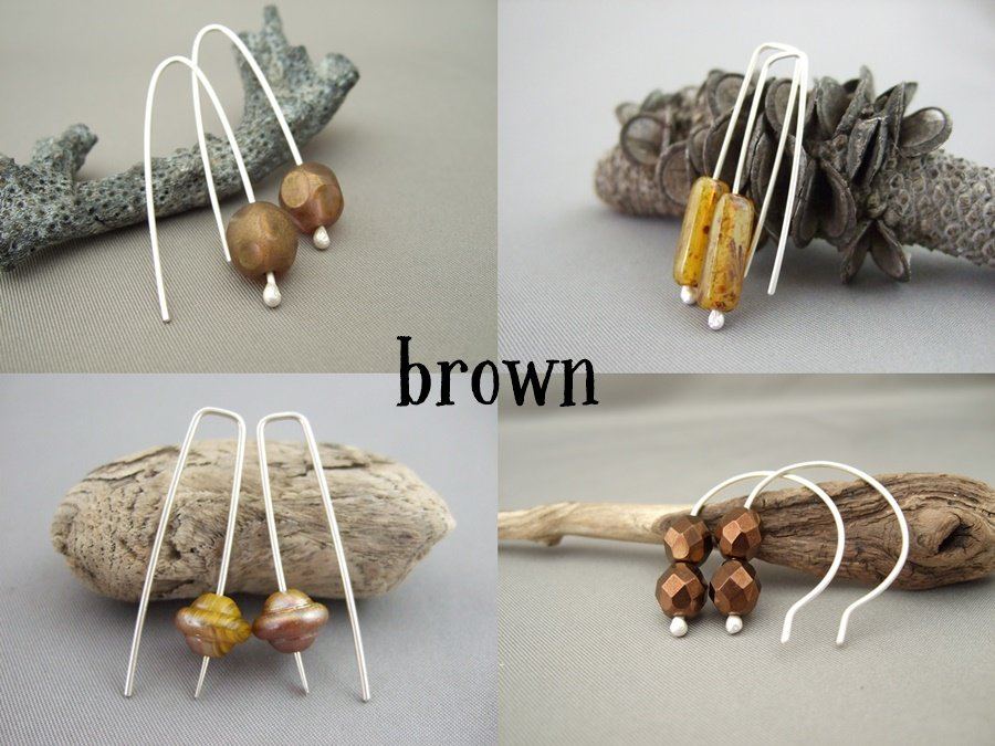 Czech Earrings - Brown