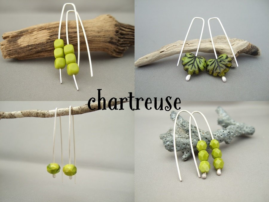 Chartreuse Czech Glass Earrings