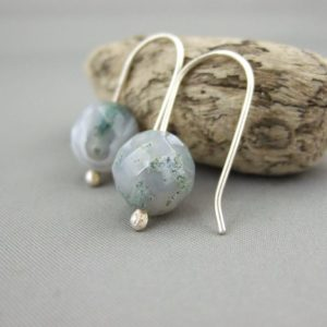 Pale Moss Agate and Sterling Silver Earrings