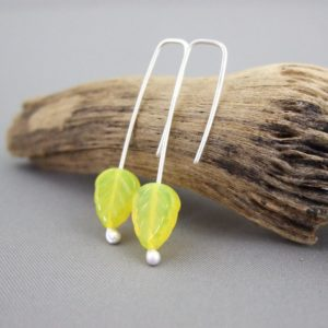 Lemon Yellow Czech Glass Autumn Leaf and Sterling Silver Earrings