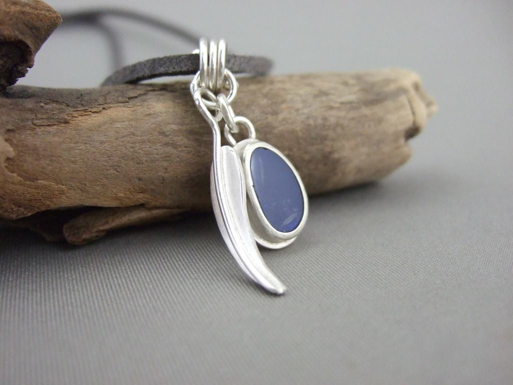 Opal and Sterling Silver Gumleaf Pendant