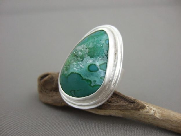 Green Freeform Drusy Agate and Sterling Silver Ring