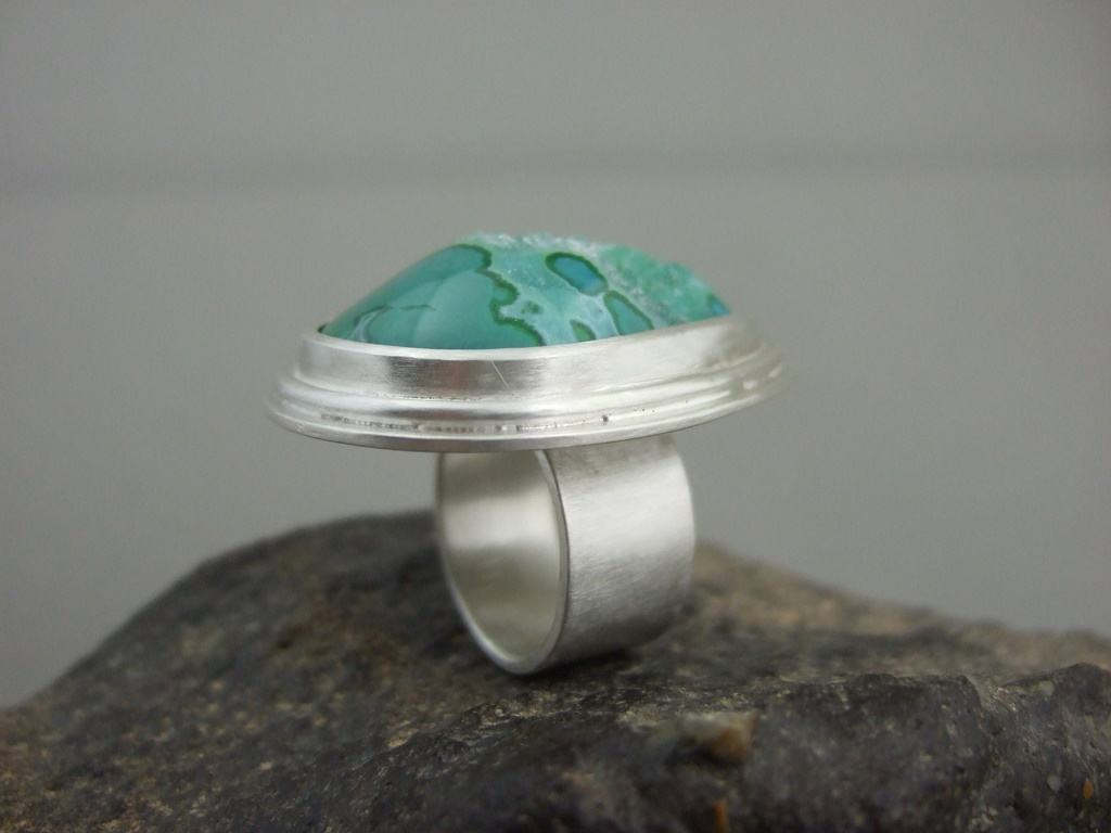 Green Freeform Drusy Ring