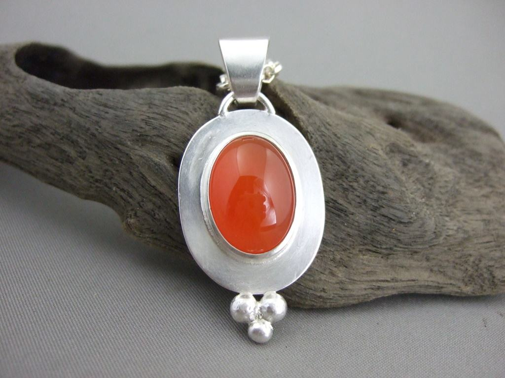Carnelian and Sterling Silver Pendant