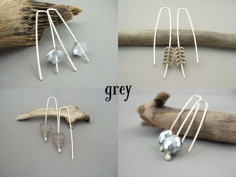 Czech Earrings - Grey