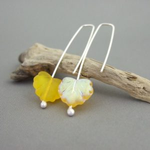 Frosted Yellow Autumn Leaf Earrings