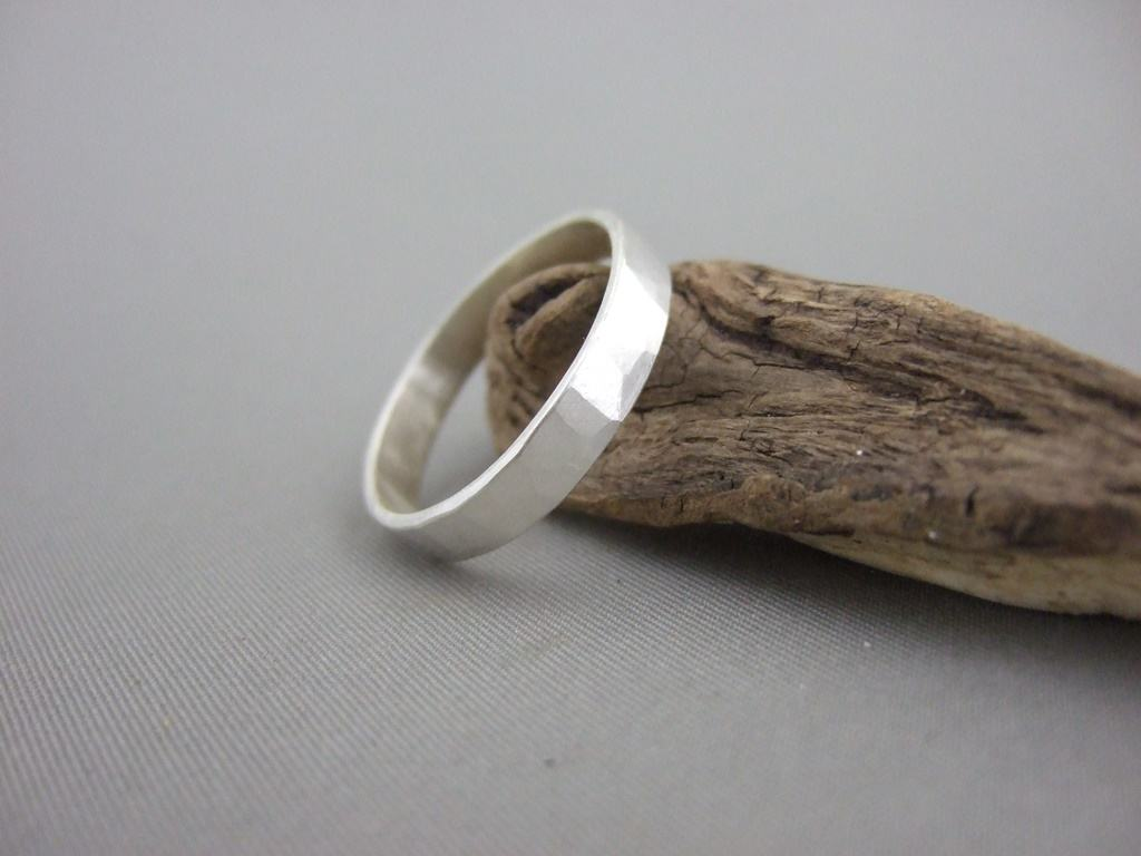Hammer Finish Sterling Silver Ring