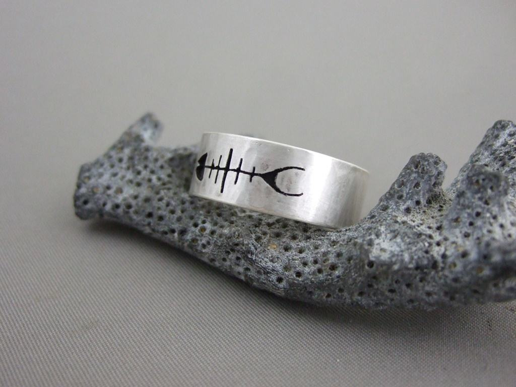 Sterling Silver Fish Skeleton Ring