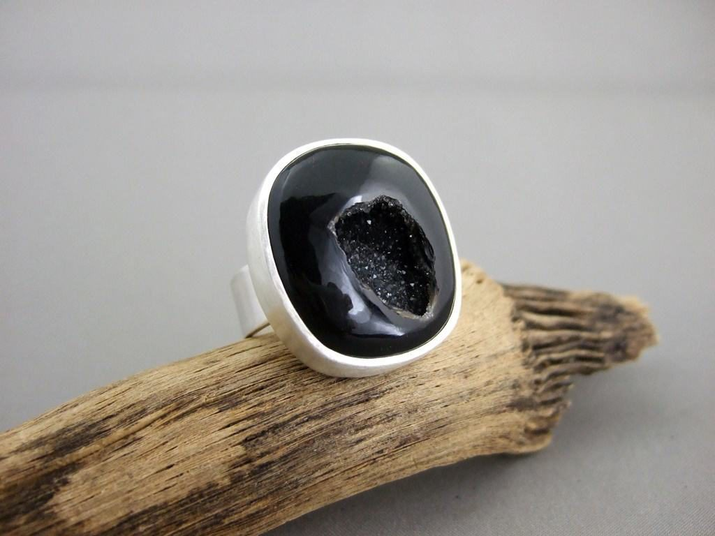 Black Drusy Squared Sterling Silver Ring