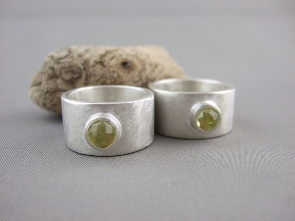 Lemon Quartz and Sterling Silver Wedding Rings