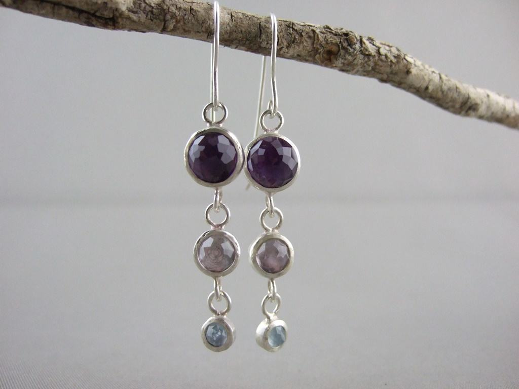 Amethyst, Rose de France and Aquamarine Sterling Silver Earrings