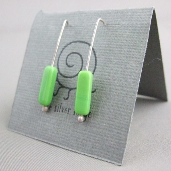 Apple Green Czech Glass Tube and Sterling Silver Earrings