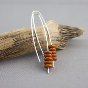 Caramel Brown Stacked Czech Glass and Sterling Silver Earrings