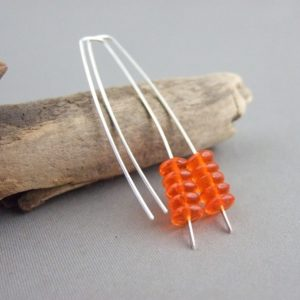Stoplight Orange Stacked Czech Glass and Sterling Silver Earrings