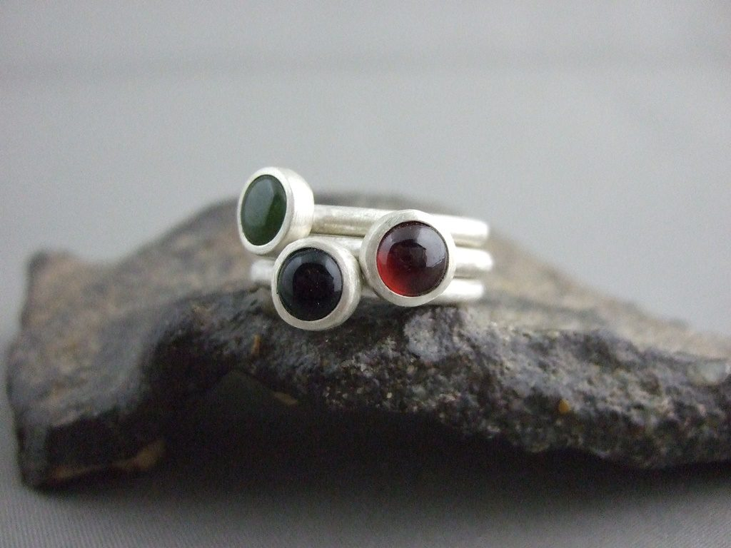 Garnet, Jade and Onyx Sterling Silver Stacking Rings