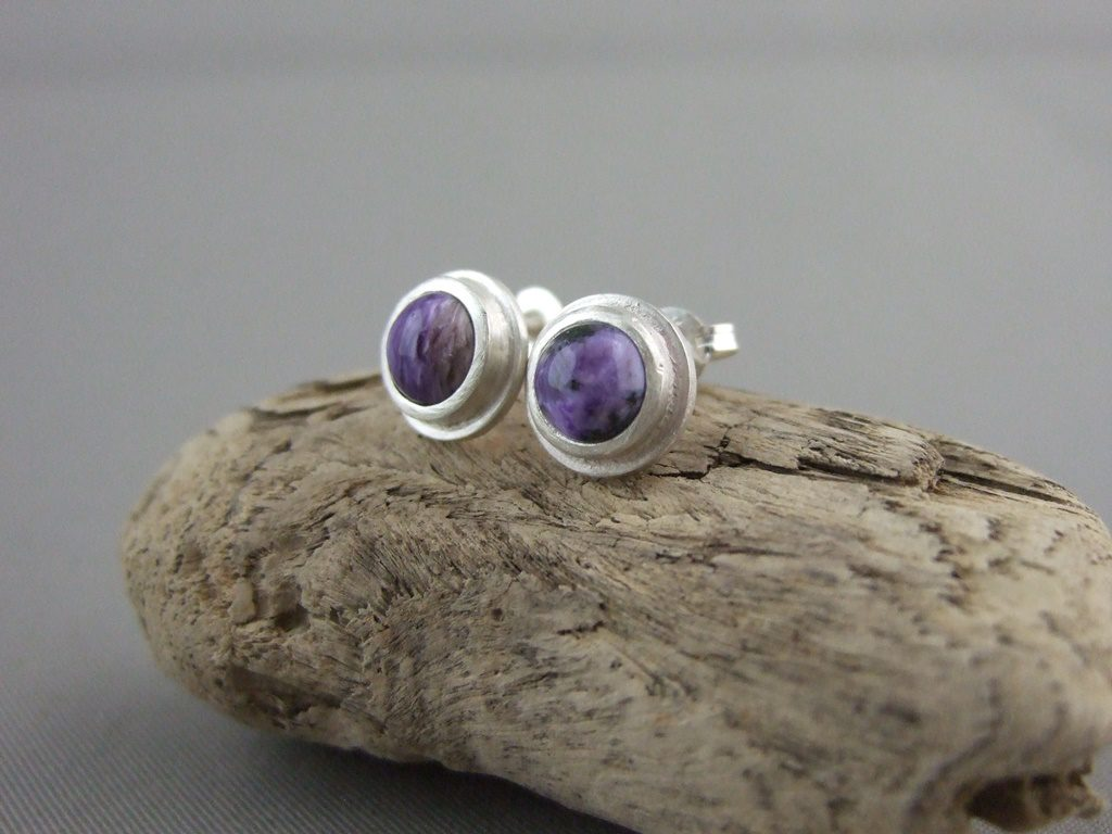 Charoite and Sterling Silver Stud Earrings