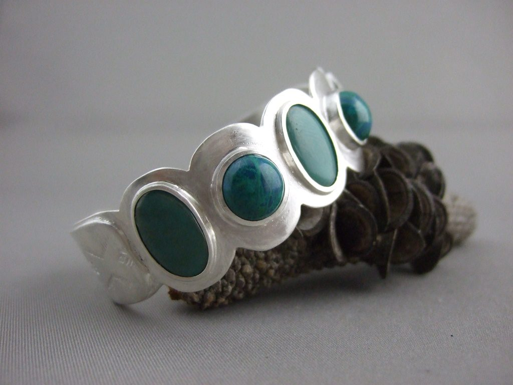 Turquoise and Chrysocolla Sterling Silver Cuff Bangle