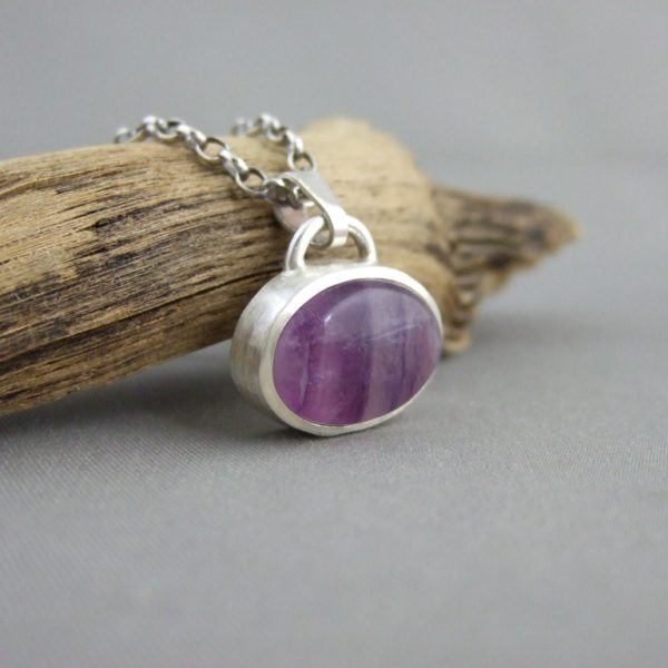 Fluorite and Sterling Silver Pendant