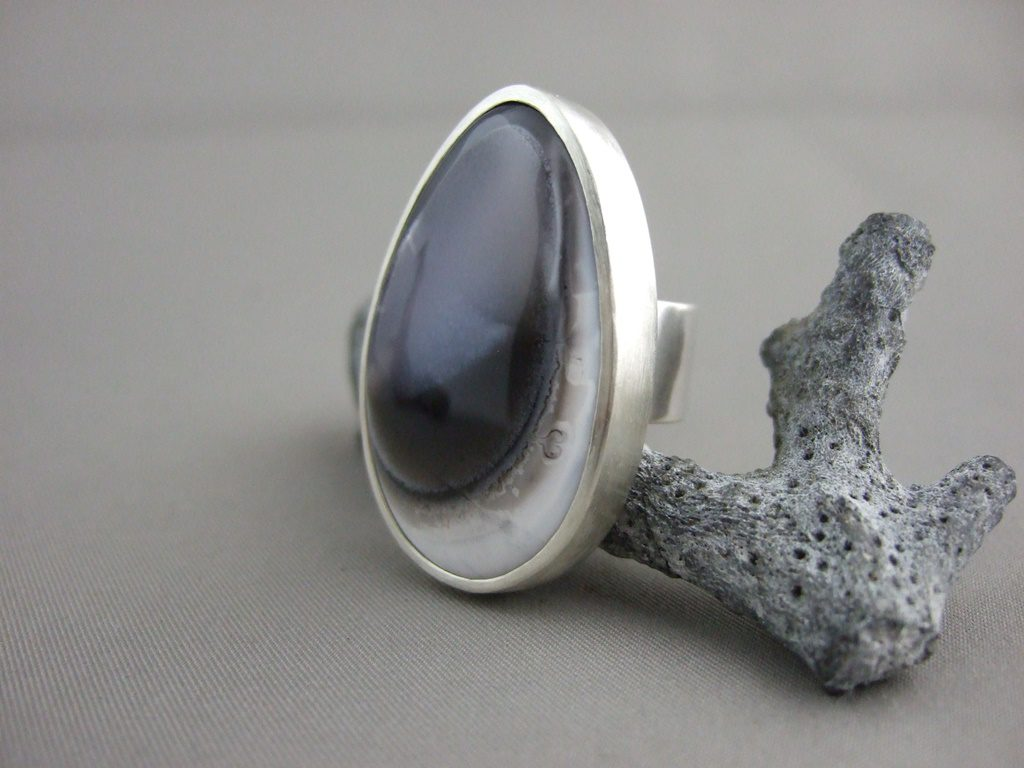 Dendritic Opal and Sterling Silver Ring