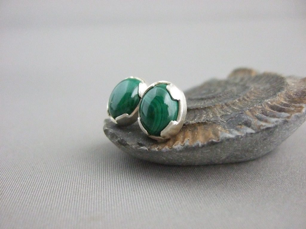 Malachite and Sterling Silver Stud Earrings