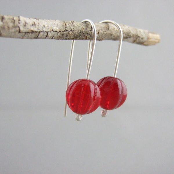 Red Melon Czech Glass and Sterling Silver Earrings