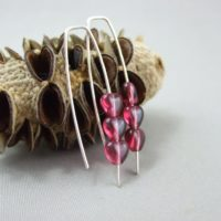 Tiny Berry Pink Czech Glass Heart and Sterling Silver Earrings