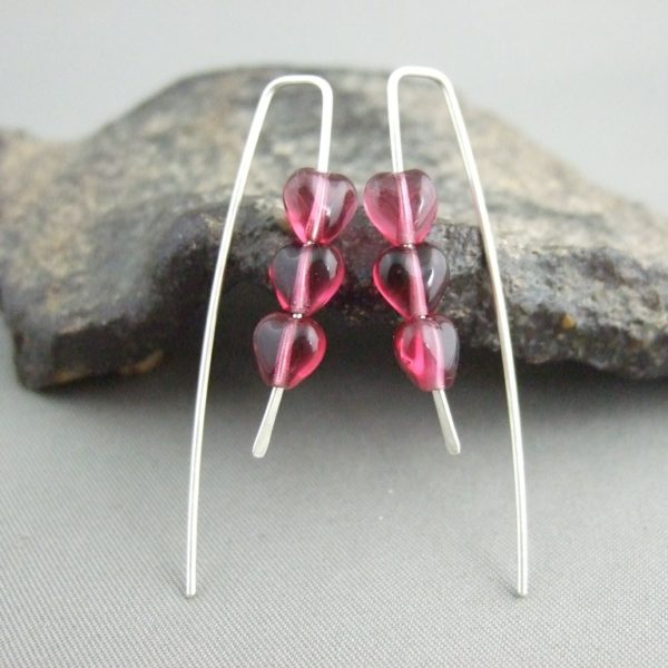 Tiny Berry Heart Czech Glass and Sterling Silver Earrings