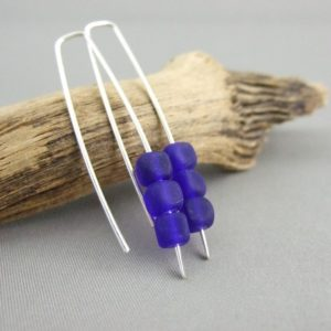 Ultramarine Blue Cube Earrings