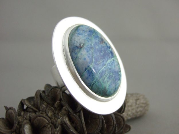 Shattuckite and Sterling Silver Ring