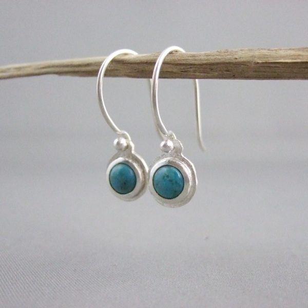 Turquoise Gemstone and Sterling Silver Drop Earrings