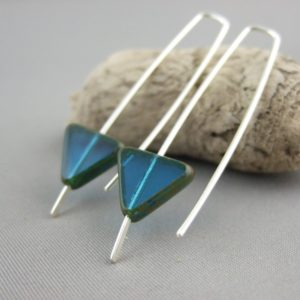 Azure Blue Triangle Geometric Earrings