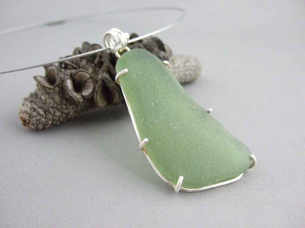Green Seaglass and Sterling Silver Pendant