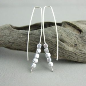 Tiny Silvery Czech Glass Cube and Sterling Silver Earrings