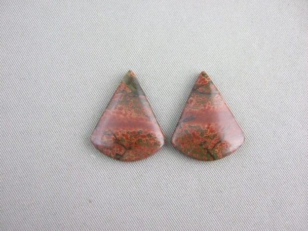 Jasper Cabchon Pair - Red Earth 22mm