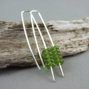 Olive Green Stacked Czech Glass and Sterling Silver Earrings